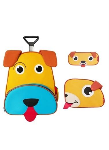 Zoozy Köpek Çekçekli Çanta Seti (Çekçekli Sırt Çanta-Beslenme Çantası-Kalemlik) Renkli